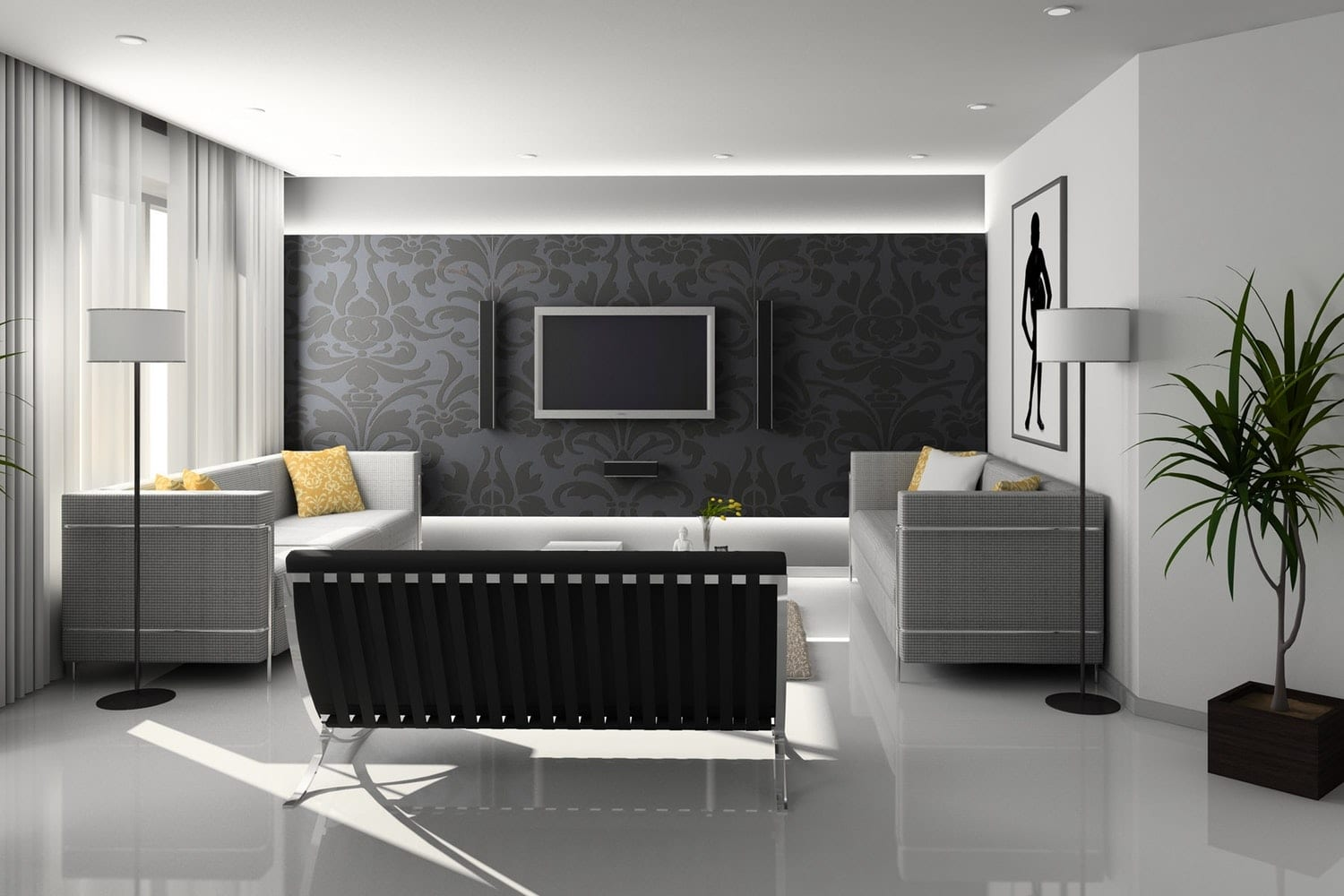 Living Room with TV Screen
