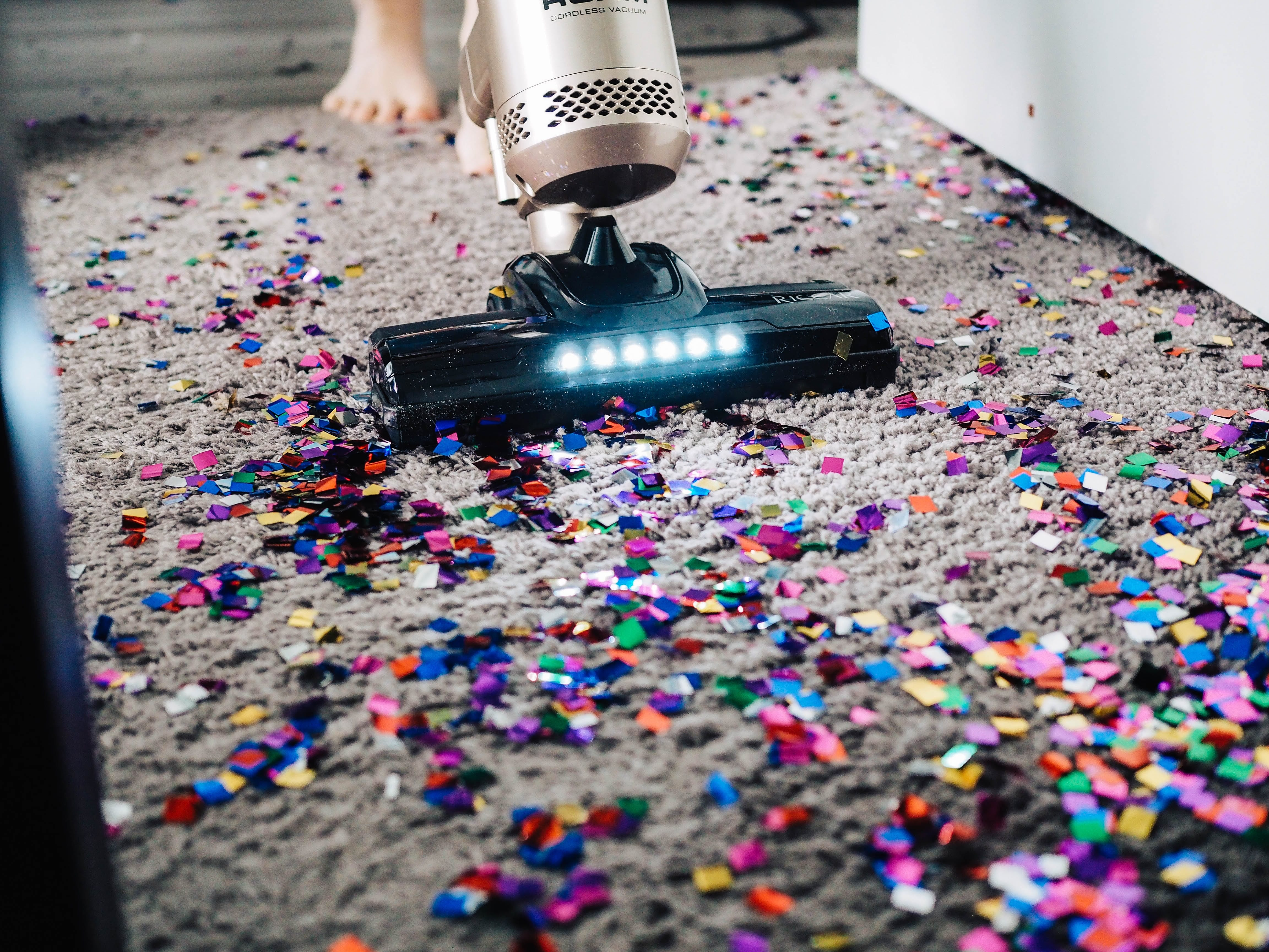 Vacuum on messy carpet