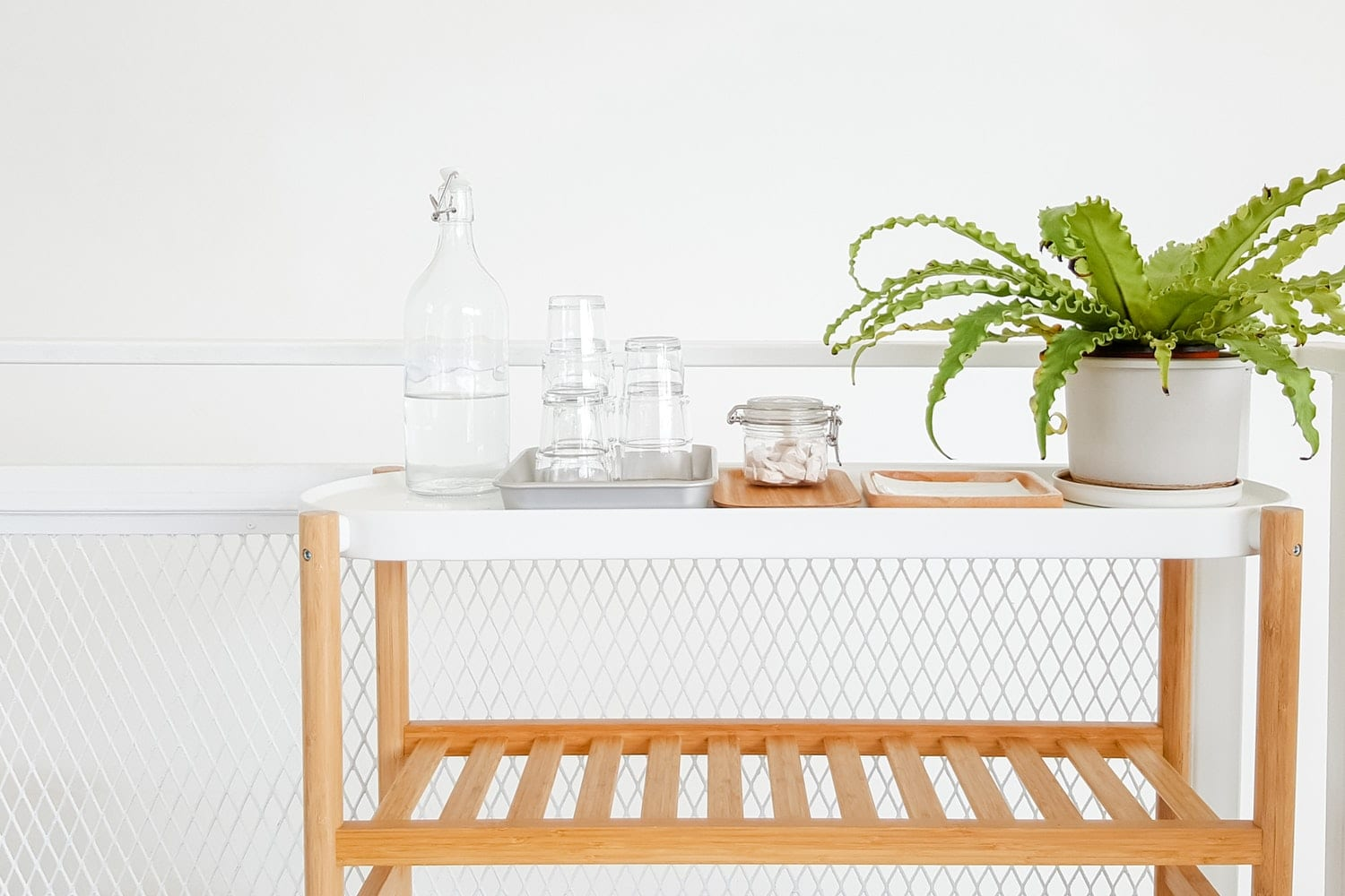 White table with plant