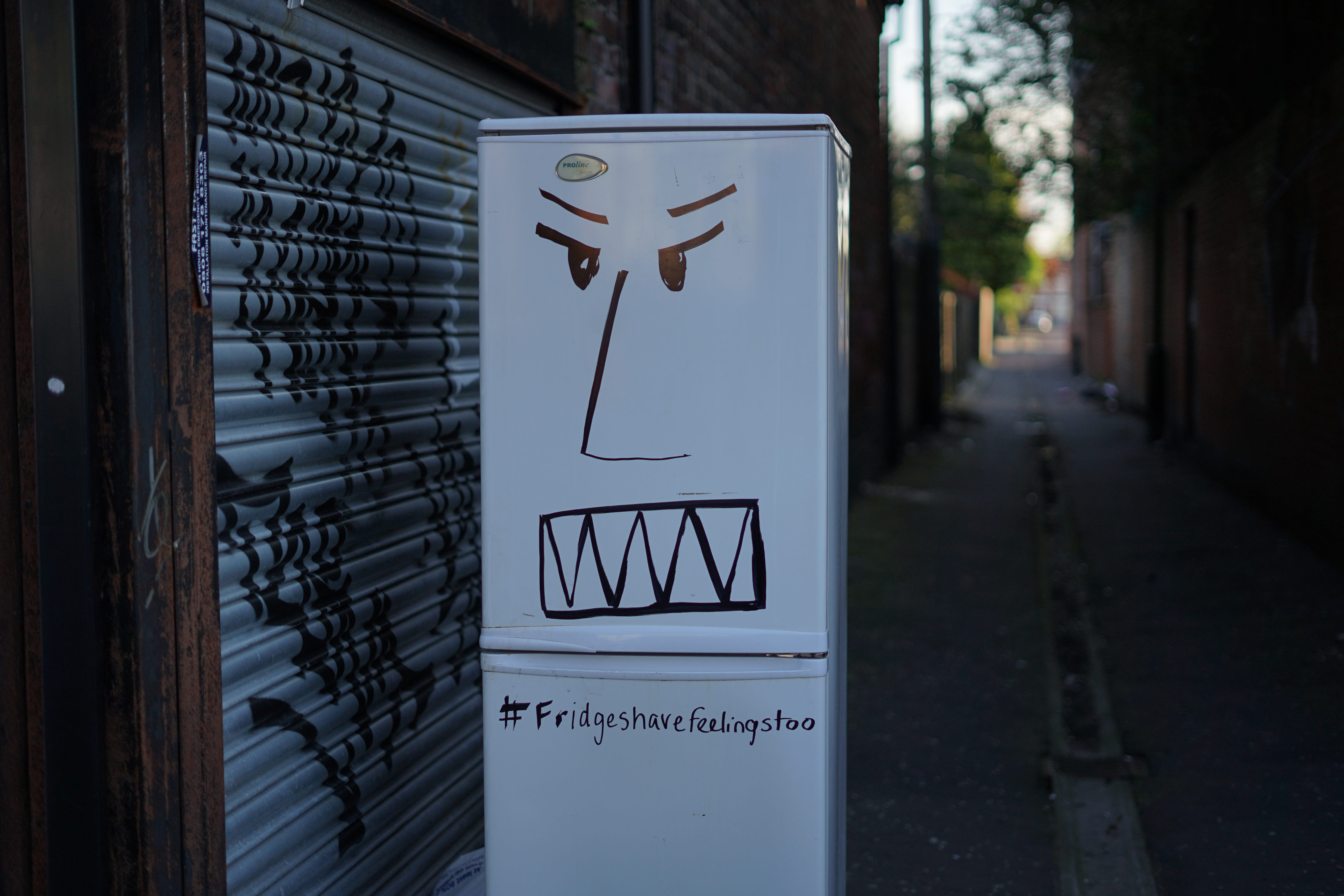 Angry face drawn on fridge